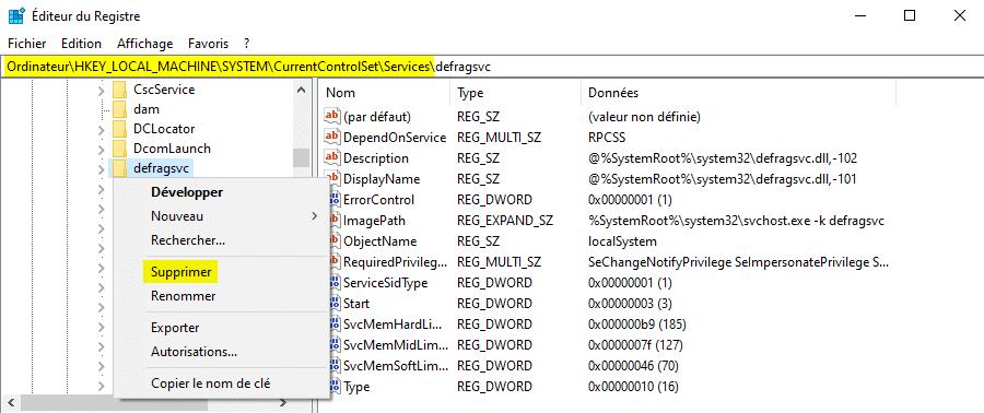 Supprimer un service Windows depuis la base de registre