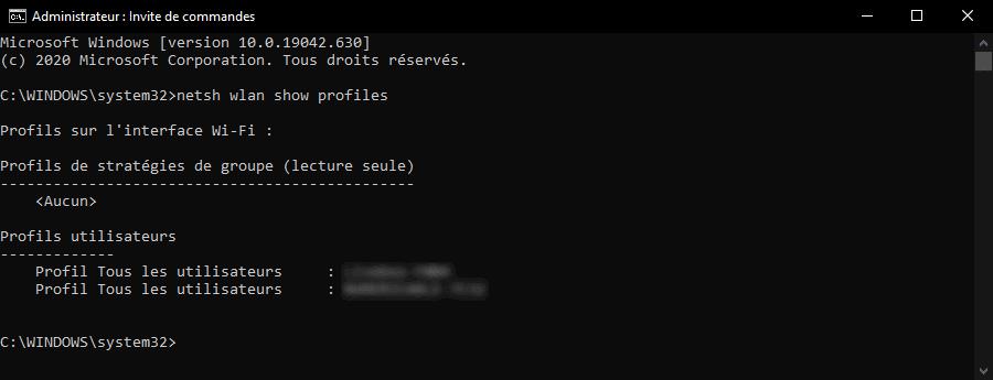 Afficher la liste de tous les réseaux WiFi enregistrés avec une invite de commandes