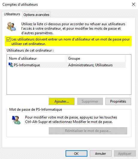 Ajouter un compte utilisateur local sur Windows 10 avec netplwiz