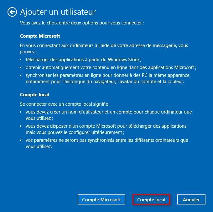 Ajouter un utilisateur avec une connexion à un compte local