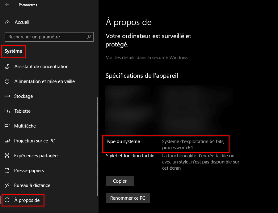 Comment savoir si mon PC est 32 ou 64 bits sur Windows 10
