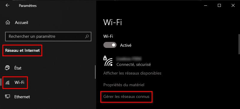 Gérer les réseaux WiFi connus dans Windows 10