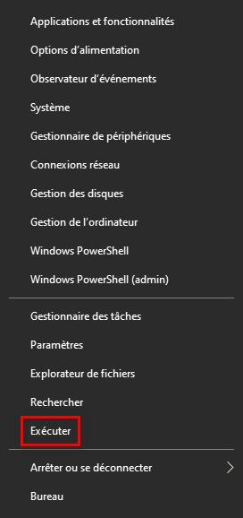 Lancer la commande Exécuter avec le menu Lien Rapide sur Windows 10