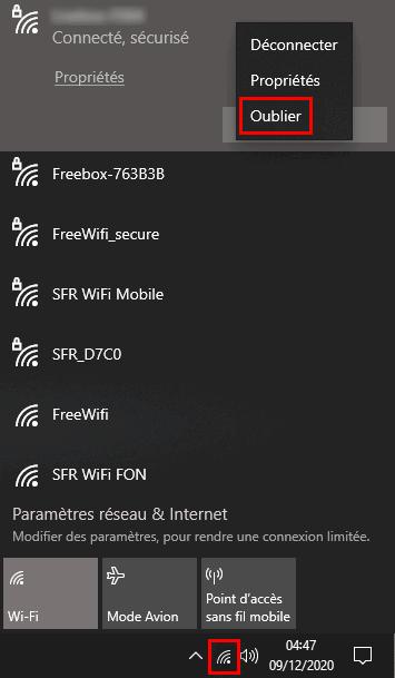 Oublier une connexion WiFi via l'icône réseau système