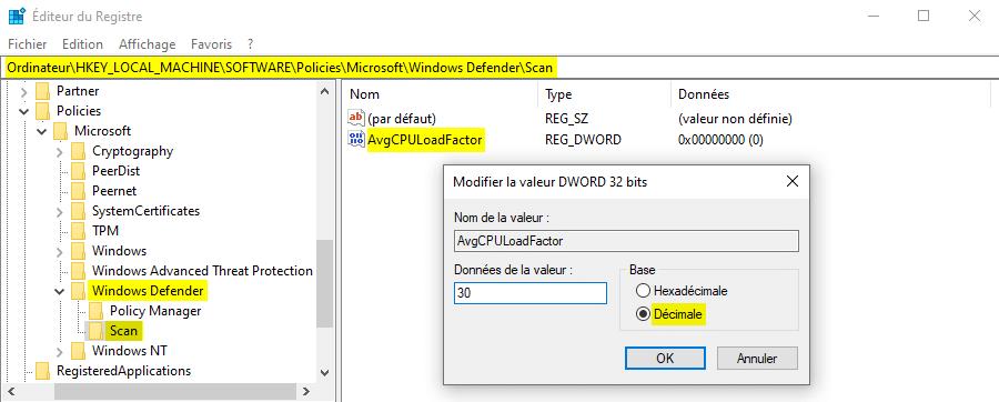 Réduire la consommation CPU de Microsoft Defender avec la base de registre