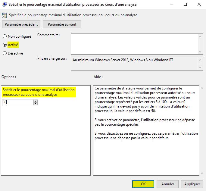 Réduire la consommation CPU de Microsoft Defender avec l'éditeur de stratégie de groupe locale