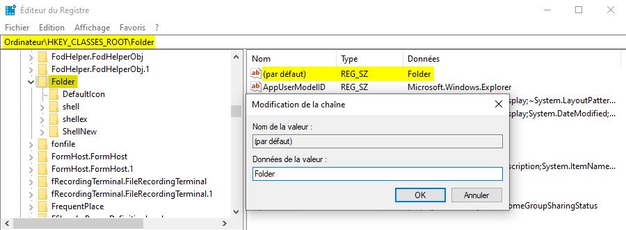 Résoudre impossible de créer un nouveau dossier sous Windows 10 avec regedit