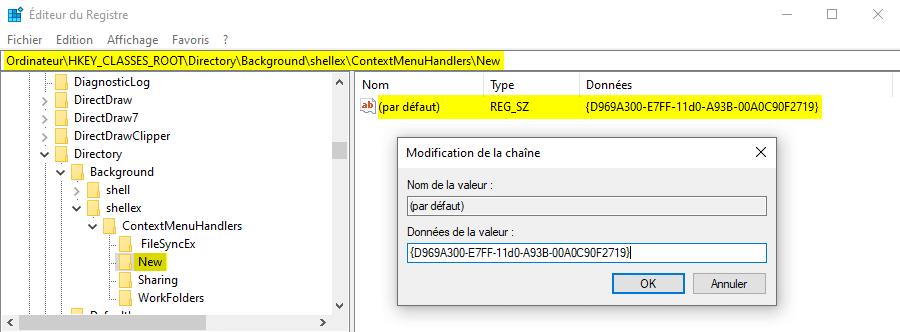 Restaurer l'option nouveau dossier disparue sous Windows 10