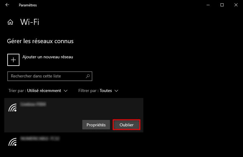 Supprimer une ancienne connexion WiFi dans les paramètres de Windows 10
