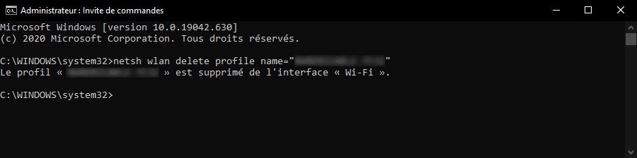 Supprimer une connexion WiFi sur Windows 10 avec une invite de commandes