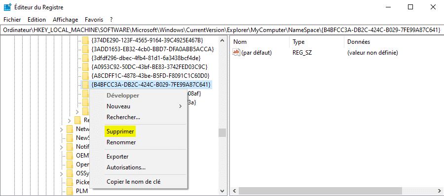 Supprimer les dossiers dans Ce PC sur Windows 10 avec la base de registre