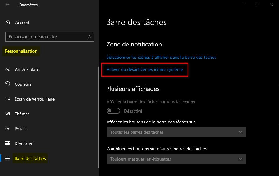 Activer ou désactiver les icônes système dans les Paramètres de Windows 10