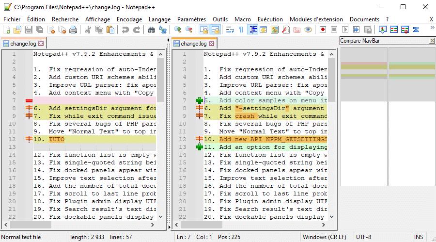 Comparer deux fichiers avec Notepad++ via le module Compare