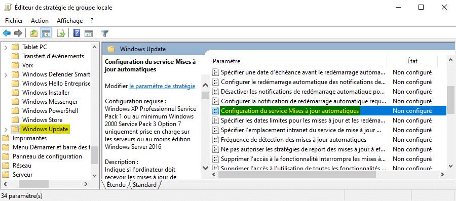Configuration du service Mises à jour automatiques sous Windows 10
