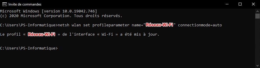 Connecter automatiquement un réseau Wi-Fi avec une invite de commandes