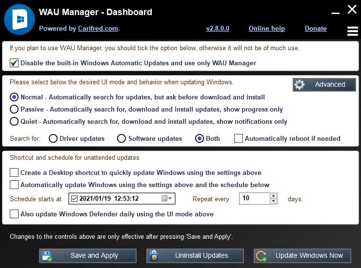 Désactiver l'installation automatique des mises à jour de Windows 10 avec WAU Manager