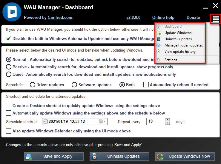 Désactiver le téléchargement automatique des mises à jour de Windows 10 avec WAU Manager