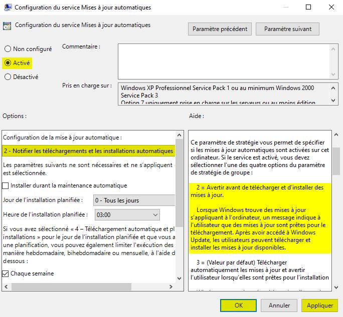 Désactiver le téléchargement et l'installation automatique des mises à jour de Windows 10