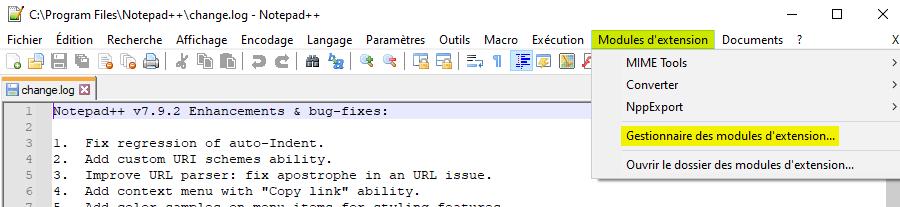 Gestionnaire des modules d'extension de Notepad++
