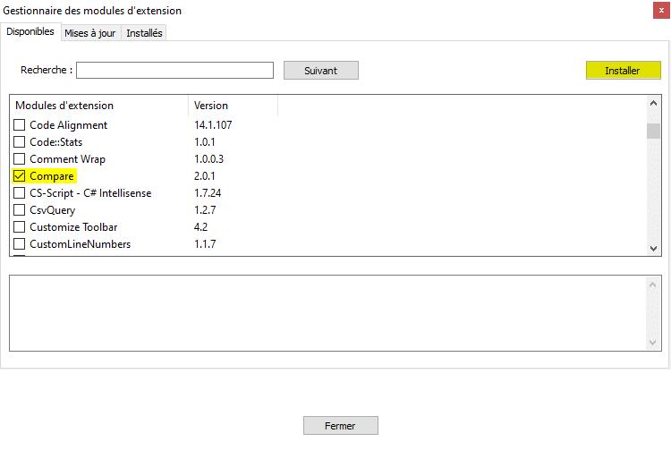 Installation du module d'extension Compare dans Notepad++