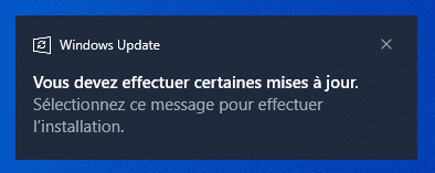Notification de mises à jour disponibles pour installation dans Windows 10