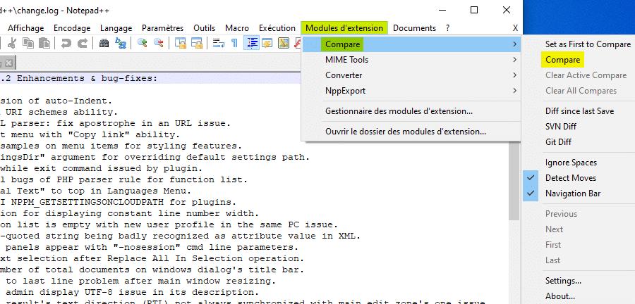 Ouvrir le module Compare pour comparer deux fichiers avec Notepad++