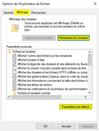 Réinitialiser l'affichage des dossiers et des paramètres avancés pour réparer l'Explorateur de fichiers