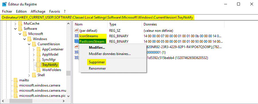 Réinitialiser les icônes de la barre d'état système dans le Registre Windows