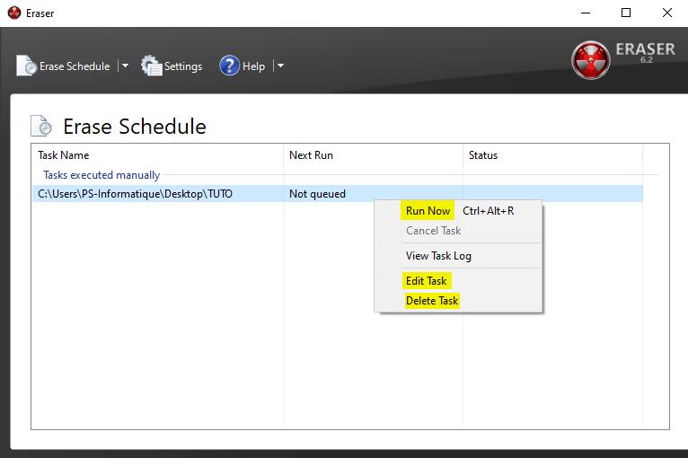 Tâche planifiée pour supprimer complètement des données du disque dur Windows