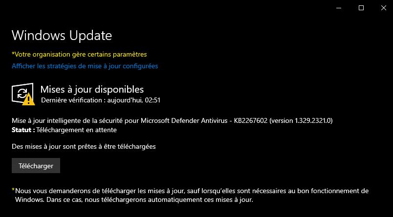 Téléchargement manuel des mises à jour dans Windows Update sous Windows 10