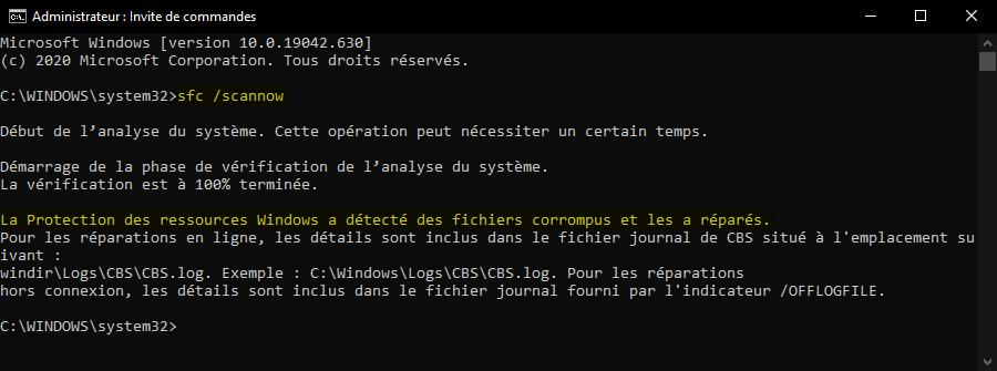 Vérifier si des fichiers système sont corrompus pour réparer l'application Paramètres dans Windows 10