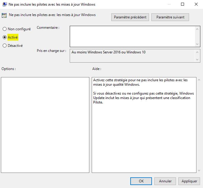 Désactiver la mise à jour automatique des pilotes sous Windows 10 avec l'Éditeur de stratégie de groupe locale