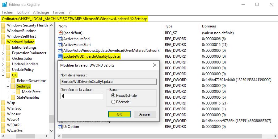 Désactiver la mise à jour automatique des pilotes sous Windows 10 avec l'Éditeur du Registre