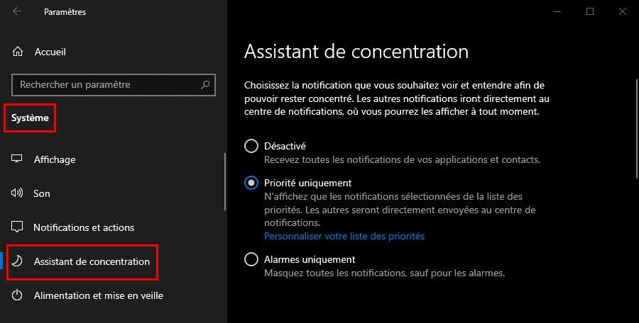 Désactiver les notifications de Windows 10 temporairement avec l'assistant de concentration