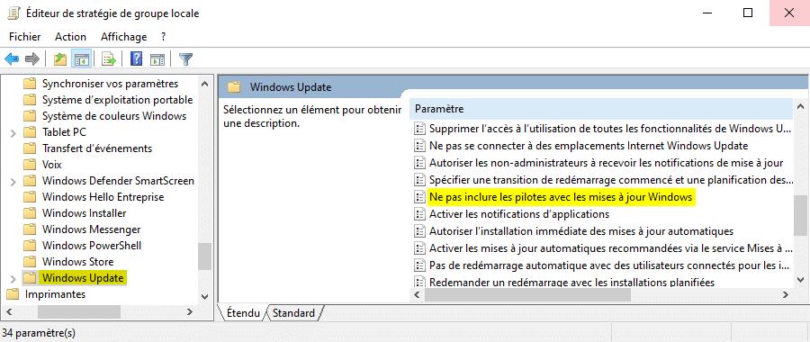 Paramètre de stratégie Ne pas inclure les pilotes avec les mises à jour Windows