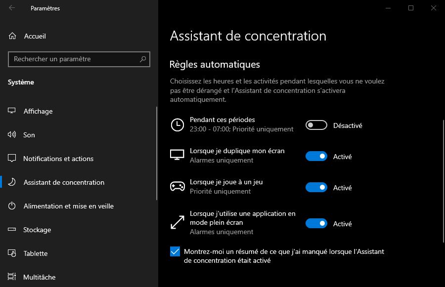 Personnaliser les notifications avec les règles automatiques de l'assistant de concentration de Windows 10