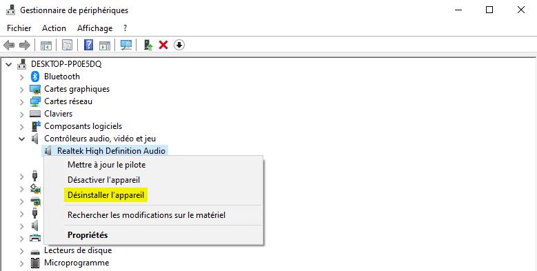 Désinstaller un appareil dans le gestionnaire de périphériques Windows