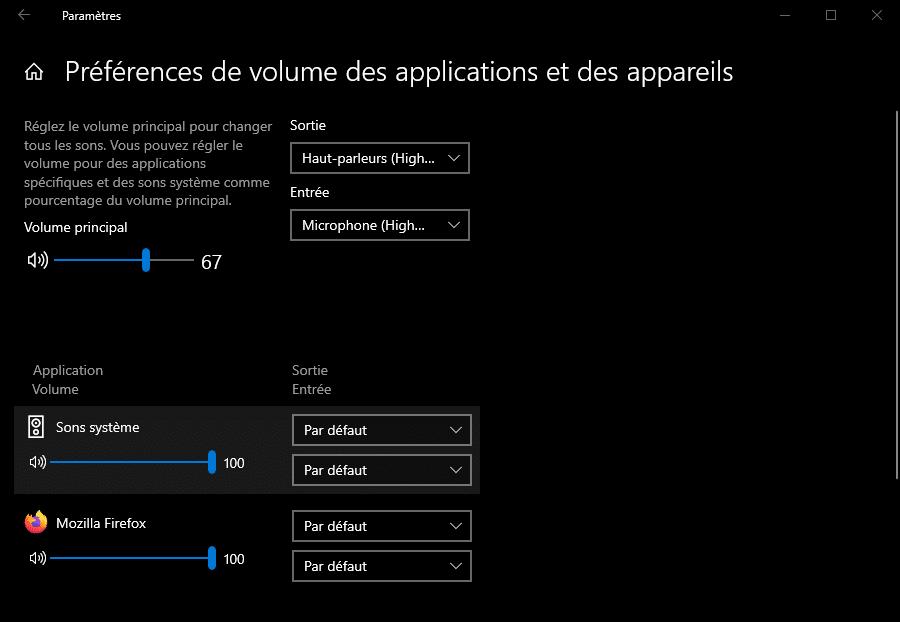 Paramètres des préférences de volume des applications et des appareils dans Windows 10
