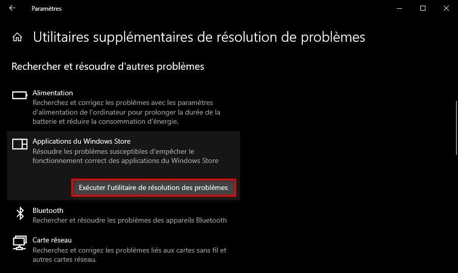 Réparer l'application Photos Windows 10 avec l'utilitaire de résolution des problèmes