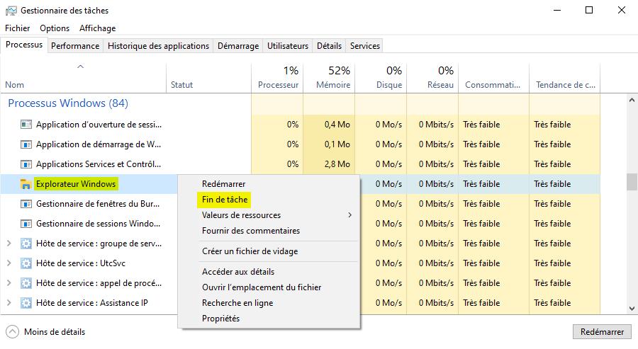 Arrêter le processus Explorateur Windows avec le Gestionnaire des tâches