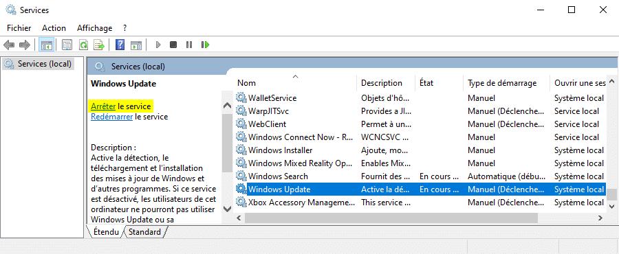 Arrêter le service Windows Update