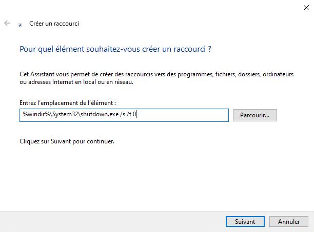Créer un raccourci pour éteindre l'ordinateur