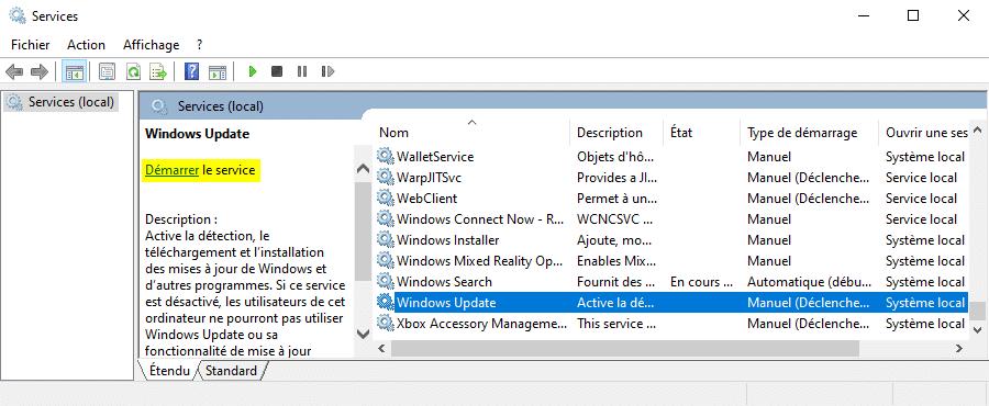 Démarrer le service Windows Update