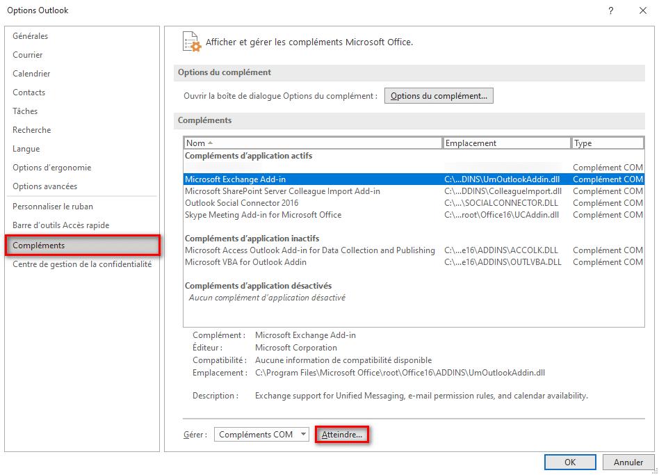 Gérer les compléments Microsoft Office Outlook