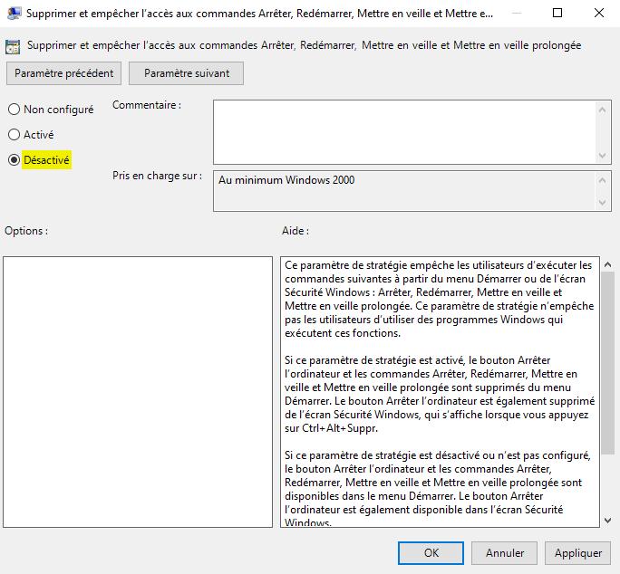 Restaurer le bouton arrêter disparu du menu Démarrer de Windows 10 avec gpedit