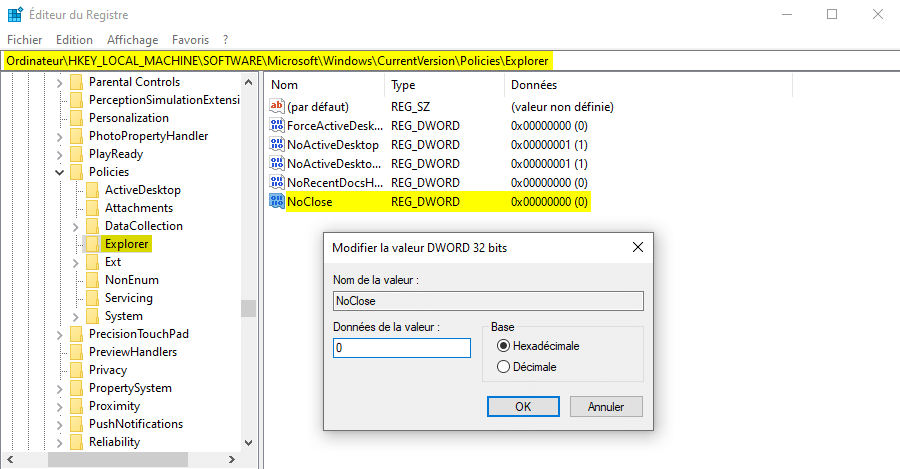 Restaurer le bouton Marche/Arrêt disparu du menu Démarrer de Windows 10
