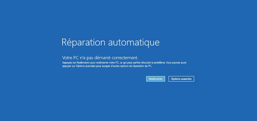 Accéder aux options de démarrage avancées depuis l'écran réparation automatique