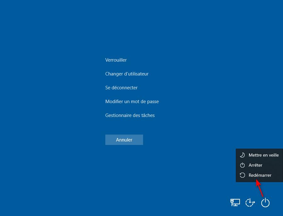 Accéder aux options de démarrage avancées avec le bouton Marche/Arrêt de l'écran de sécurité Windows