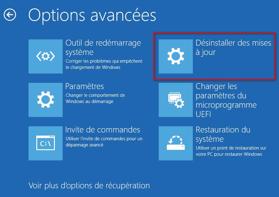 Désinstaller des mises à jour depuis les options avancées de Windows 10
