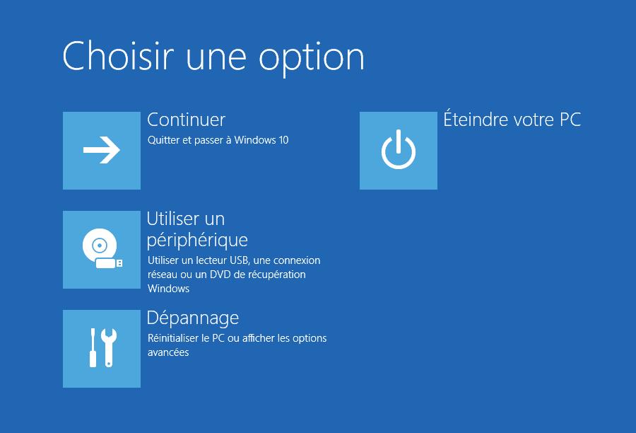 Écran options de démarrage avancées de Windows 10